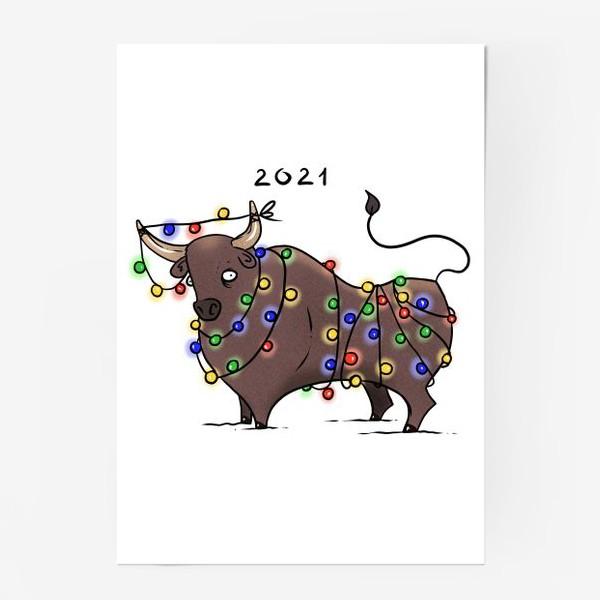 Постер «Бык с гирляндой. 2021 »