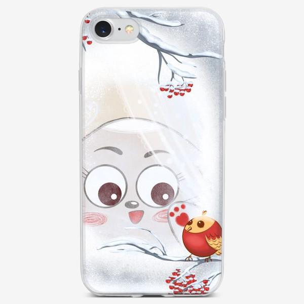 Чехол iPhone «За окном снегирь»