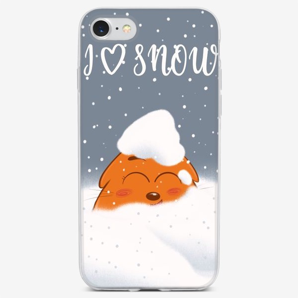 Чехол iPhone «Кот в снегу»