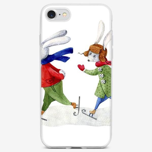 Чехол iPhone «Зайчики на коньках»