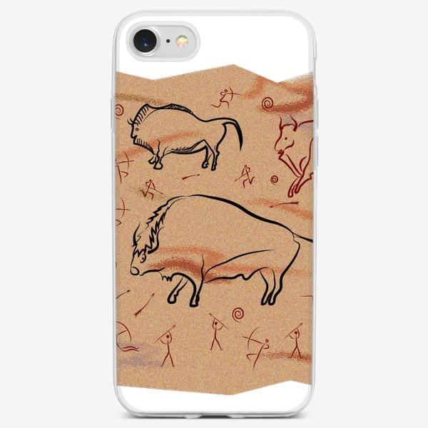 Чехол iPhone «Охота на быков. Наскальная живопись.»