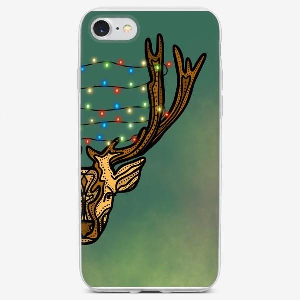Чехол iPhone «Новогодний олень с гирляндой»