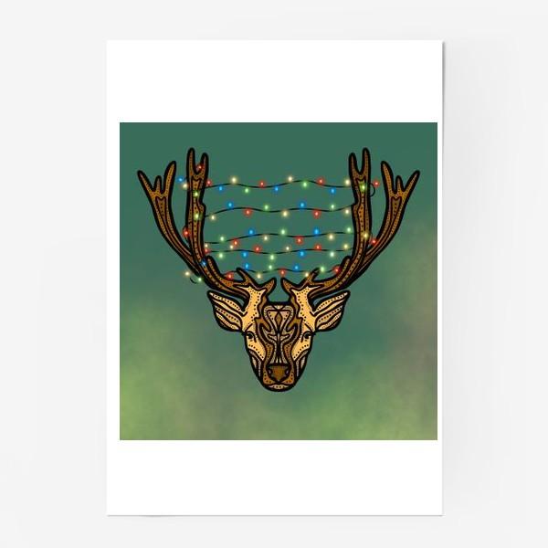 Постер «Новогодний олень с гирляндой»