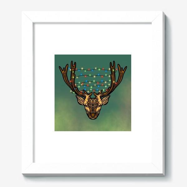 Картина «Новогодний олень с гирляндой»