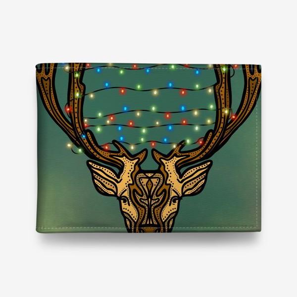 Кошелек «Новогодний олень с гирляндой»