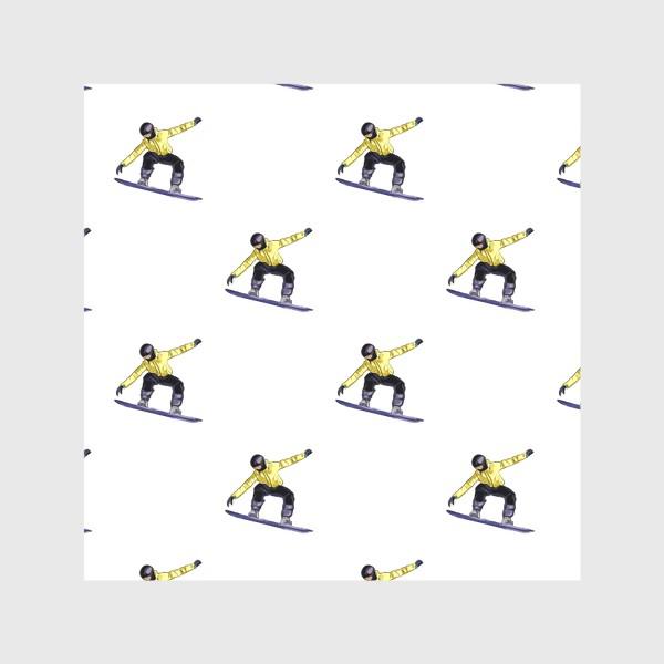 Скатерть «Орнамент из силуэта сноубордиста. Спортсмен в полете на доске для сноубординга»