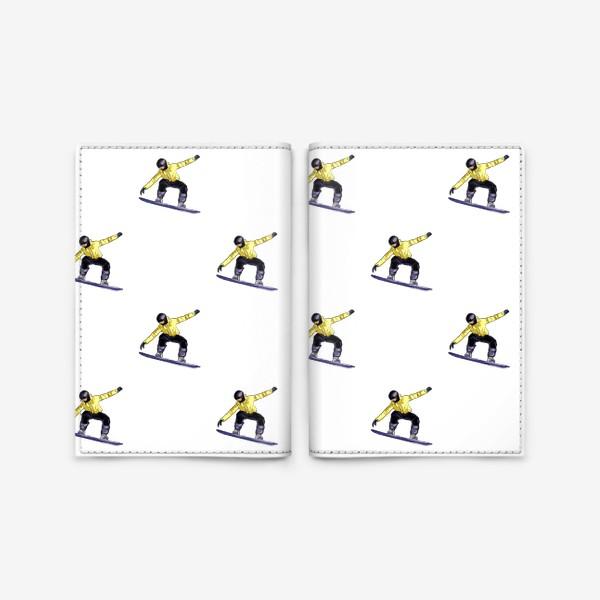 Обложка для паспорта «Орнамент из силуэта сноубордиста. Спортсмен в полете на доске для сноубординга»