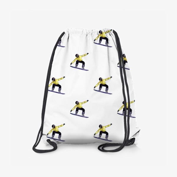Рюкзак «Орнамент из силуэта сноубордиста. Спортсмен в полете на доске для сноубординга»