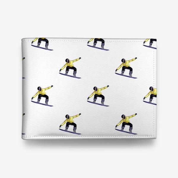 Кошелек «Орнамент из силуэта сноубордиста. Спортсмен в полете на доске для сноубординга»