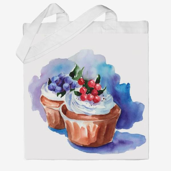 Сумка хб «Маффины с ягодами и кремом»