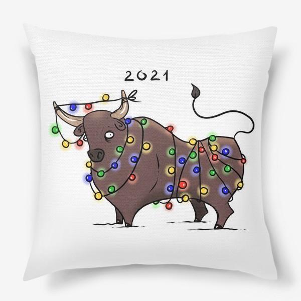 Подушка «Бык с гирляндой. 2021 »