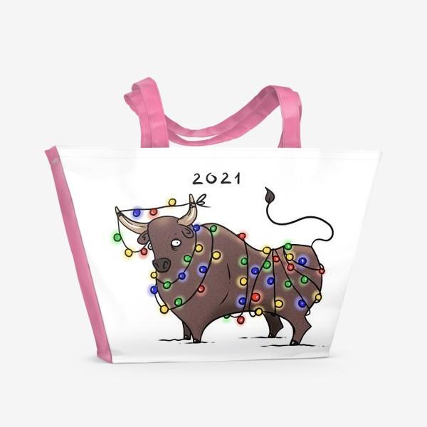 Пляжная сумка «Бык с гирляндой. 2021 »