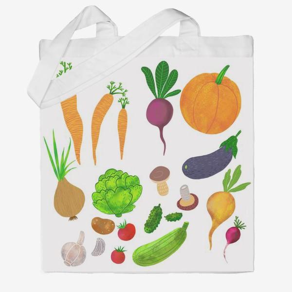 Сумка хб «Овощи на белом фоне»