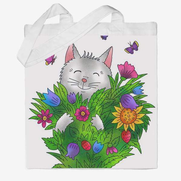Сумка хб «Белый кот с цветами»