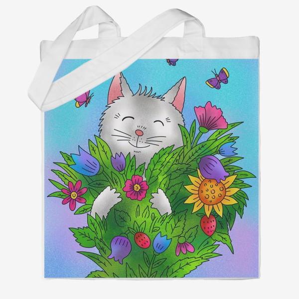 Сумка хб «Белый котик и цветы»