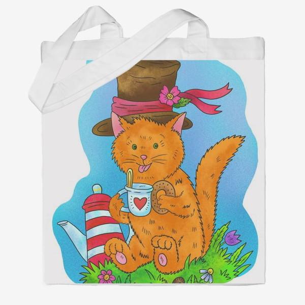 Сумка хб «Рыжий кот в шляпе»