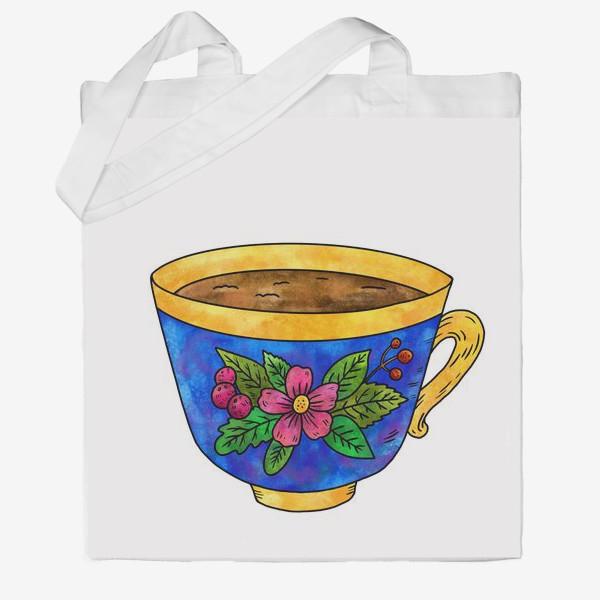 Сумка хб «Синяя чашка с цветами»