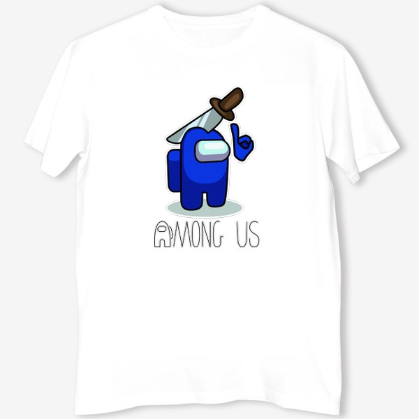 Футболка «AMONG US - Синий с саблей.»