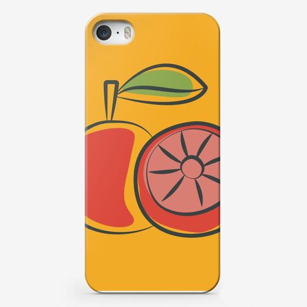 Чехол iPhone «Апельсин на желтом фоне »