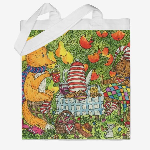 Сумка хб «Лис и кот пьют чай в саду»