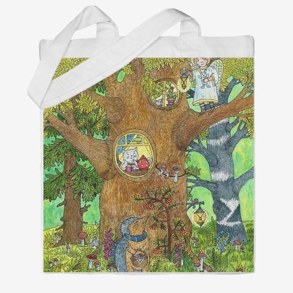 Сумка хб «Маленький ежик в волшебном лесу»
