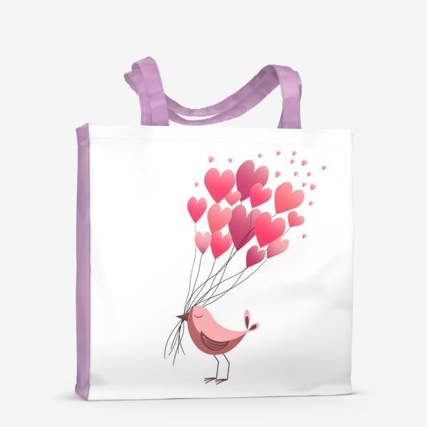 Сумка-шоппер «Птичка и сердца»