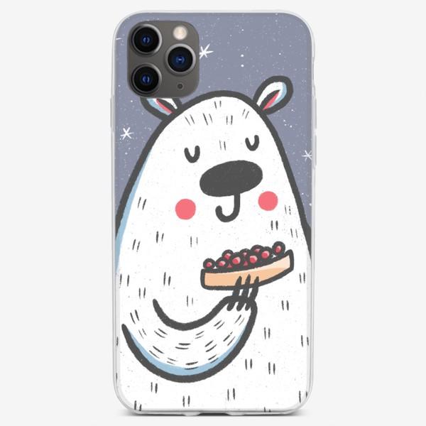 Чехол iPhone «Белый медведь в новый год»