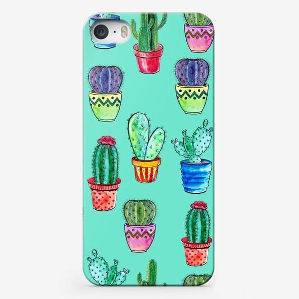 Чехол iPhone «Кактусы в горшках на бирюзовом фоне»
