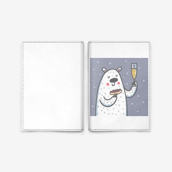 Обложка для паспорта «Белый медведь в новый год»