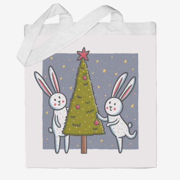 Сумка хб «Милые зайцы наряжают елку. Новый год»