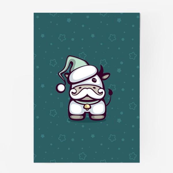 Постер «Cute Santa Bull»
