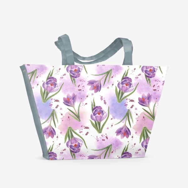 Пляжная сумка «Акварельные фиолетовые крокусы»