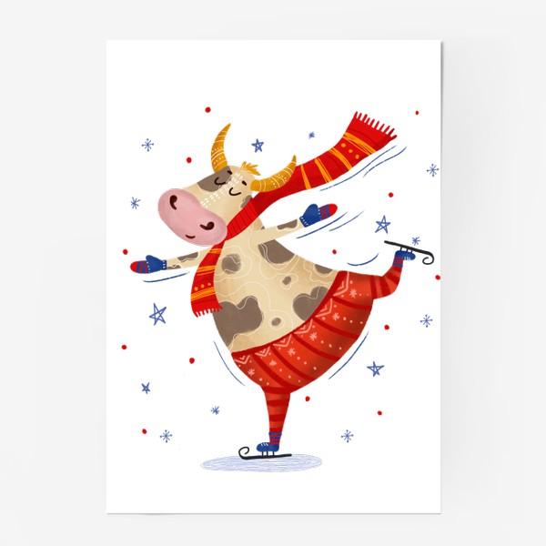 Постер «Милый бык на коньках»