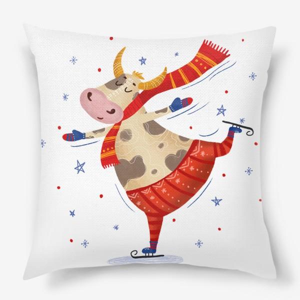 Подушка «Милый бык на коньках»