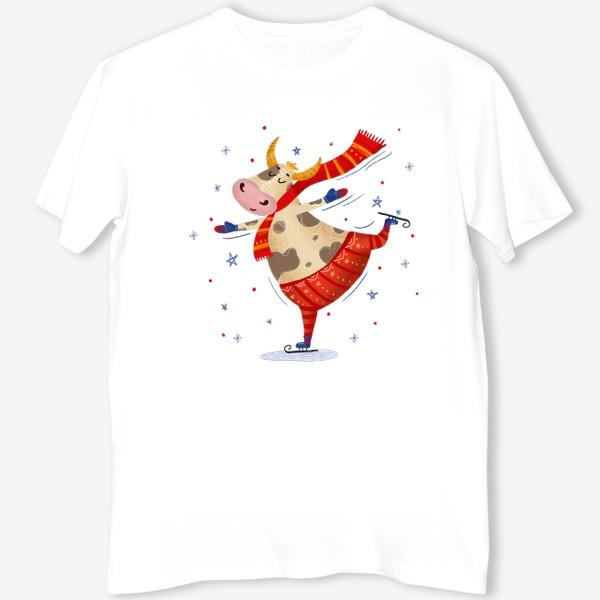 Футболка «Милый бык на коньках»