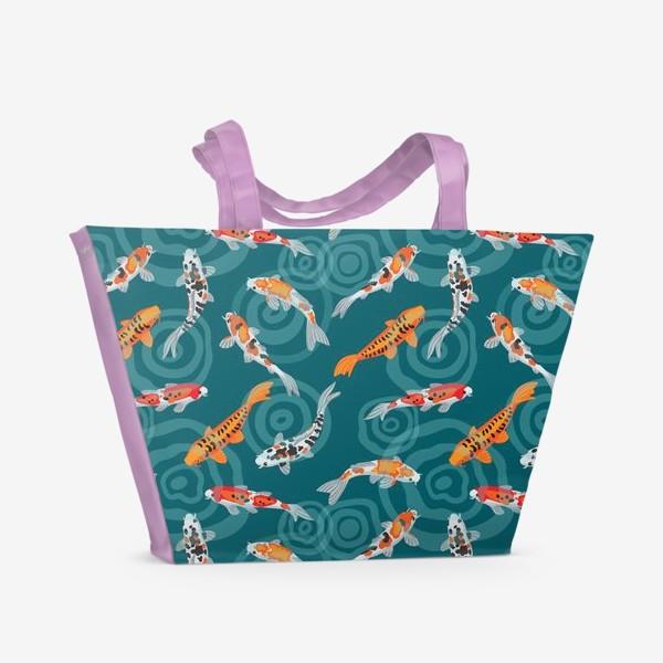 Пляжная сумка «Карпы кои»