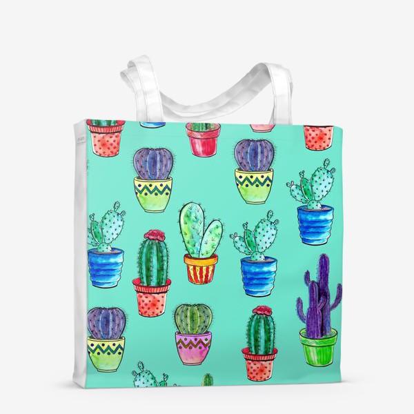 Сумка-шоппер «Кактусы в горшках на бирюзовом фоне»