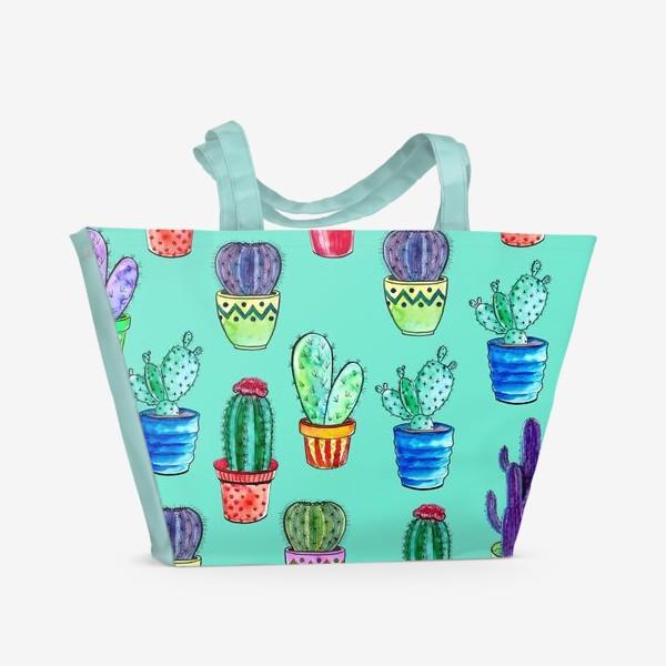 Пляжная сумка «Кактусы в горшках на бирюзовом фоне»