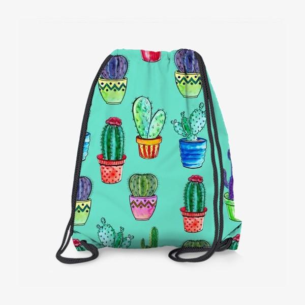 Рюкзак «Кактусы в горшках на бирюзовом фоне»