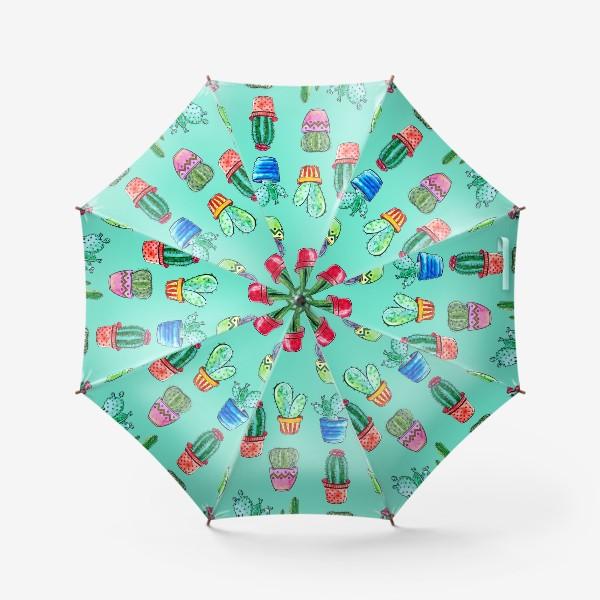 Зонт «Кактусы в горшках на бирюзовом фоне»