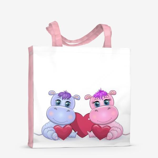Сумка-шоппер «Влюбленные бегемотики с сердечком, 14 февраля»