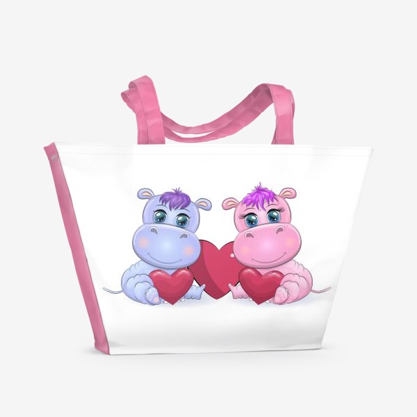 Пляжная сумка «Влюбленные бегемотики с сердечком, 14 февраля»