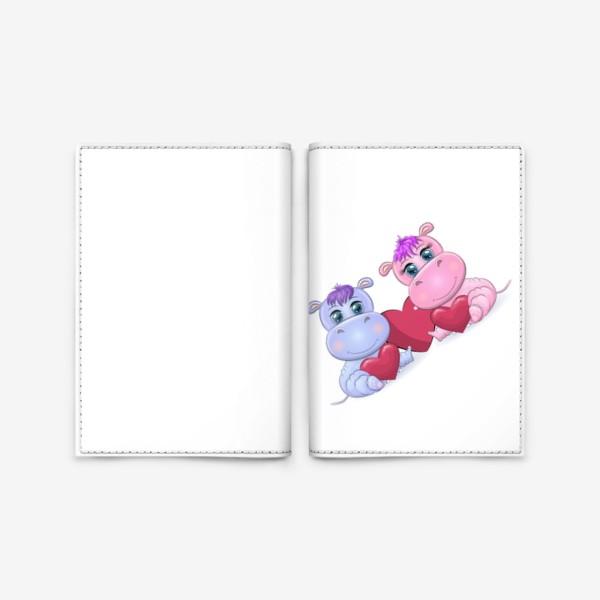 Обложка для паспорта «Влюбленные бегемотики с сердечком, 14 февраля»