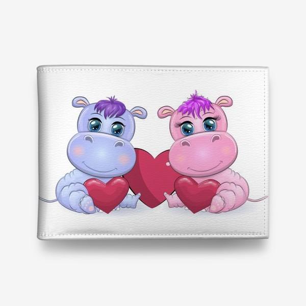 Кошелек «Влюбленные бегемотики с сердечком, 14 февраля»