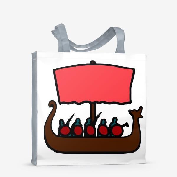 Сумка-шоппер «Драккар - корабль викингов, Скандинавия, символ, история. Реконструктору, историку, любителю викингов»