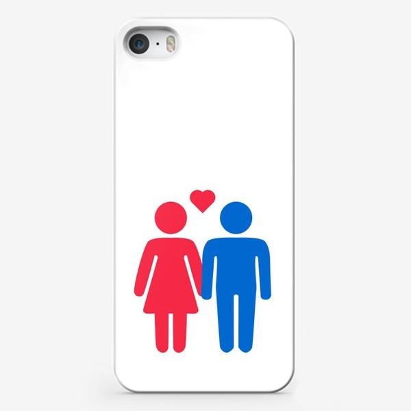 Чехол iPhone «Инь-янь, влюбленная пара в сине-красных тонах»