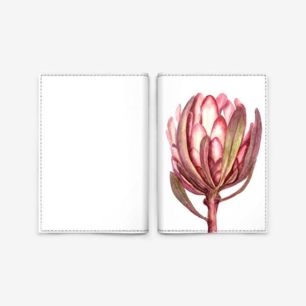 """Обложка для паспорта «Экзотический розовый цветок """"Протея""""»"""