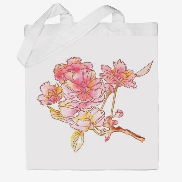 Сумка хб «Цветы розовые»