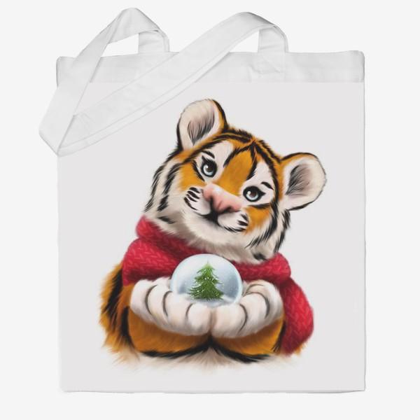 Сумка хб «Новогодний тигр в красном шарфе»