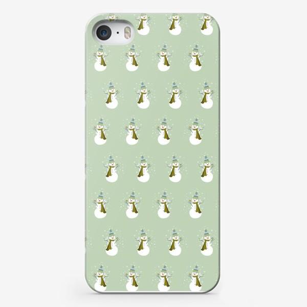 Чехол iPhone «Зимний паттерн со снеговиками»
